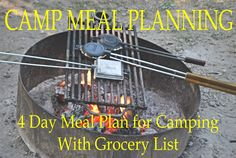 -- Perfect, I don't know why I was feeling over whelmed looking for easy camping recieps. 4 DAY CAMPING MEAL PLAN with grocery list Camping Meal Planning, Camping Menu, Camping List, Camping Glamping, Beach Camping, Camping Checklist, Camping Essentials, Camping And Hiking, Camping With Kids