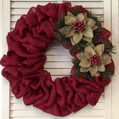 Simple Christmas Wreath 18 Burlap Wreath Xmas Wreath