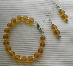 Yellow Matte Finish Glass Bead Set