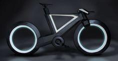スポークもハブも持たない自転車「CYCLOTRON BIKE」  映画『トロン:レガシー』の「ライトサイクル」に似たルックス
