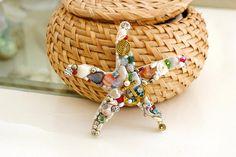 starfish, wooden jewelled starfish, bathroom decor, sea life, starfish decor, mosaic art, nautical decor, bride beach wedding favor, women