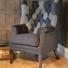 MacKenzie Patchwork Chair- Classic wing chair with patchwork buttoned back and leather arms. Hand studded facings and hand piping Furniture, Purchase Furniture, Furniture Upholstery, Chair, Patchwork Chair, Armchair, Upholstery, Cool Chairs, Furniture Design