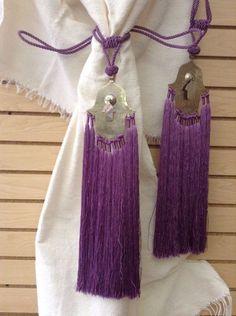 Pair of Moroccan Silk Curtain Tassel Caidal Tieback Khamsa Hand Amulet Purple #Handmade #Moroccan