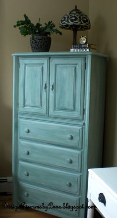 Design Dreams by Anne - Armoire Paint Color Behr Agave Furniture Makeover, Furniture Decor, Refinished Furniture, Funky Furniture, Furniture Projects, Turquoise Painted Furniture, Painted Armoire, Blue Paint Colors, Colours