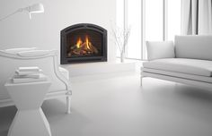 A gas fireplace with arched elegance, robust heat and high efficiency, Cerona from Heat & Glo makes a strong impression. Indoor Gas Fireplace, Modern Fireplace, Fireplace Design, Gas Fireplaces, Foyers, Latest House Designs, Fireplace Inserts, Interior Design Inspiration, Modern Design
