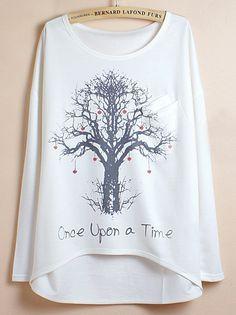 White Batwing Sleeve Wishing Tree Print Dipped Hem T-Shirt 11.83