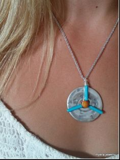 Peace round disc pendant -  turquoise flower power wirewrapped pendant necklace - circle hammered silver disc necklace - casual jewelry by MyERA4u on Etsy