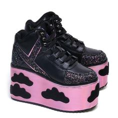 Black EVA platform wrapped in Pink HologramVegan Pony Hair Qloud detailsOrganza heel and platformMesh liningRuns true to size Goth Shoes, Funky Shoes, Crazy Shoes, Me Too Shoes, Black Sneakers, Shoes Sneakers, Shoes Heels, Casual Cosplay, Pride Shoes