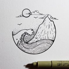 Best Inspiration Art Drawing – My Life Spot Pen Art, Drawing Sketches, Drawing Ideas, Drawing Art, Ocean Drawing, Beach Drawing, Simple Art Drawings, Easy Nature Drawings, Drawing Tutorials