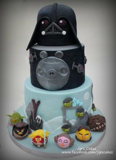 for my son BD Cumpleaños Angry Birds, Festa Angry Birds, Star Wars Cake, Star Wars Party, Fondant Cakes, Cupcake Cakes, Cupcakes, Anniversaire Star Wars, Movie Cakes