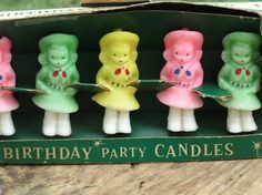 Vintage Colorful Cowgirls Gurley Party Candles with Original Box -- I remember these on my birthday cake.