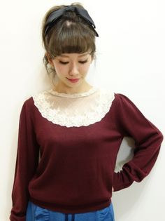 Tulle York acrylic wool knit pullover / an another angelus