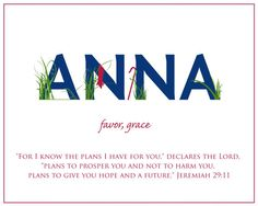 Customizable ANNA Name Art Canvas with Name Meaning and Scripture Verse, - Wall art baby name meaning Meaning Of Your Name, Scripture Verses, Bible Quotes, Anna Name, Victoria Name, Baby Name Generator, Baby Names And Meanings, I Know The Plans, Dios