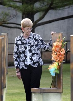 Joyce Bolte, mother of Mark A. Bolte, who was killed in the Murrah Building bombing, stands by his memorial chair at the Oklahoma City National Memorial. Oklahoma City Bombing Memorial, Oklahoma City National Memorial, Norman Oklahoma, Anniversary, April 19, Things Happen, Memories, History, Historia