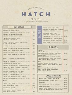 Different formats can allow for different looks for a restaurant menu design