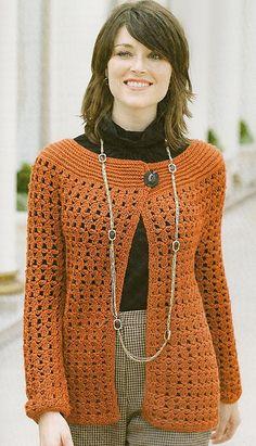 One button cardigan - top-down crochet pattern