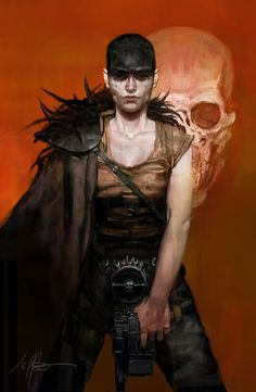Furiosa by jeffsimpsonkh postapocalypse Mad Max female fighter barbarian rogue thief assassin armor clothes clothing fashion player character npc | Create your own roleplaying game material w/ RPG Bard: www.rpgbard.com | Writing inspiration for Dungeons and Dragons DND D&D Pathfinder PFRPG Warhammer 40k Star Wars Shadowrun Call of Cthulhu Lord of the Rings LoTR + d20 fantasy science fiction scifi horror design | Not Trusty Sword art: click artwork for source