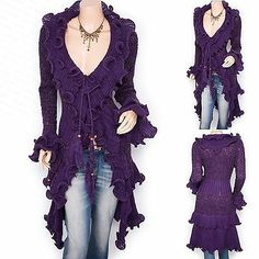 Retro Curves Ruffles Collared Knit Cardigan Long Sweater Jacket