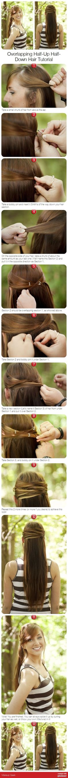 Overlapping half-up half down step by step hair tutorial