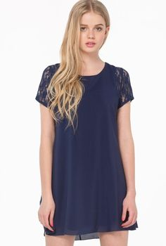 20.00 Blue Contrast Lace Short Sleeve Split Chiffon Dress