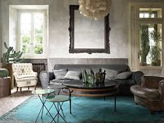 From the latest SA Elle decor. Intense colour combinations of greys and turquise Elle Decor, Living Room Inspiration, Interior Inspiration, Design Inspiration, Loft Spaces, Living Spaces, Living Area, Bohemian Apartment, Bohemian Interior