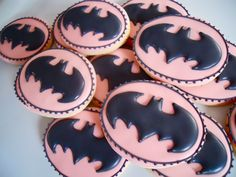 Oh Sugar Events: Cookie Quickie: Pink Batman Batman Cookies, Fun Cookies, Cupcake Cookies, Sugar Cookies, Decorated Cookies, Cupcakes, Cupcake Toppers, Batman Party, Superhero Party