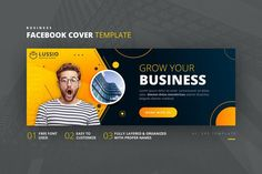 Business Facebook Cover Template AI, EPS Facebook Cover Template, Growing Your Business, Templates, Stencils, Vorlage, Models