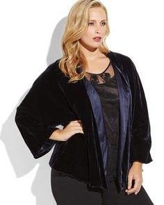 MARINA RINALDI Plus Size Navy Velvet Cardigan