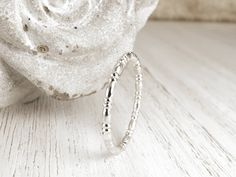 Sterling silver band ring - Textured stacking ring - Handmade stackable ring - Silver bead ring - Pretty and romantic silver ring Beaded Rings, Silver Necklaces, Silver Jewelry, Diamond Jewelry, Silver Ring, Mommy Jewelry, Yoga Jewelry, Indian Jewellery Online, Gold Jewelry Simple