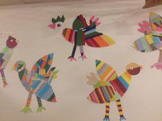 Színes madarak,csoportmunkában készítve, mozaik technikával. A mintákat maguk találták ki. Techno