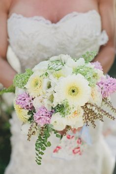 #white #yellow #lavender wedding #bouquet |  Photography by onelove-photo.com, Florals by http://floraloccasions.com  Read more - http://www.stylemepretty.com/2013/08/22/san-juan-capistrano-wedding-from-onelove-photography/