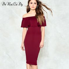 a14bea9fd1c DeRuiLaDy Women Casual Maxi Dress Summer Fashion Off Shoulder Bodycon  Dresses Womens Club Party Sexy Pencil