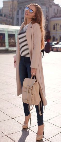 spring fashion trends / stripped top   blush cardi   backpack   skinnies   heels