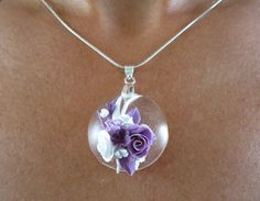 Transparent Glass-Like Clear Pendant with by ClearBrilliance