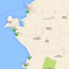 Map of the Best Beaches on Naxos Greek Island.