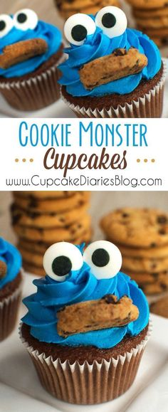 Monster Cupcakes - Perfect for a Cookie Monster or Sesame Street birthday party! (Cake Ideas) - Cupcake -Cookie Monster Cupcakes - Perfect for a Cookie Monster or Sesame Street birthday party! Festa Cookie Monster, Cookie Monster Cupcakes, Cupcake Cookies, Party Cupcakes, Boys Cupcakes, Simple Cupcakes, Baking Cupcakes, Cupcake Wars, Cookie Favors
