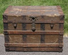Early Wood Slat Steamer Trunk