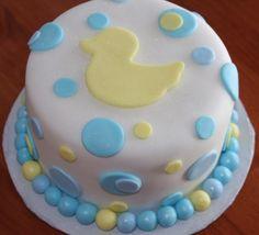 Cute fondant duck baby shower cake idea