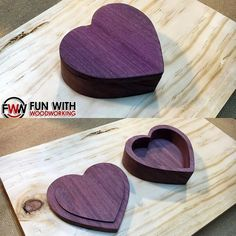 I give to you The Purple Heart Shaped Box. Video coming soon! #funwithwoodworking #xcarve #purpleheart #heartshapedbox @inventables by funwithwoodworking