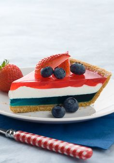 JELL-O Easy Patriotic Pie- Celebrate the patriotic days with this JELL-O gelatin dessert.