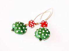 Earrings  Green Amanitas  Lampwork glass beads by BritanikaJewelry, $44.00
