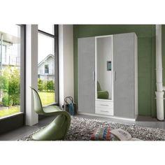 Floora vaatekaappi 484 valkoinen/betoni - Tuppu-Kaluste Armoire Design, Hall Wardrobe, Tv Armoire, Thing 1, Corner Unit, Hanging Rail, Entry Hall, Top Drawer, Mirror Door