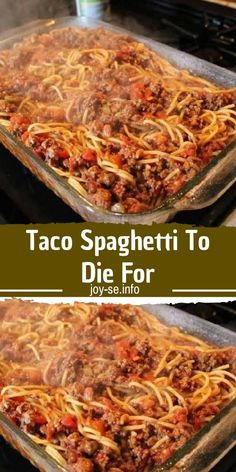 Ingredients: 1 tablespoon olive oil 1 pound ground beef 1 package taco seasoning 1 can) Ro*Tel® Mild Diced Tomatoes & Green Chilies 1 tablespoon tomato paste 8 ounces spaghetti cup shredded cheddar cheese cup shredded mozzarella cheese 1 Roma tomato, Casserole Dishes, Casserole Recipes, Meat Recipes, Pasta Recipes, Mexican Food Recipes, Dinner Recipes, Cooking Recipes, Crockpot Recipes, Recipies