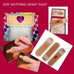 Toy Felt Band Aid Kit with Hearts and Bag - Play Doctor Set - Doc McStuffins - Pretend Play - Nurse -