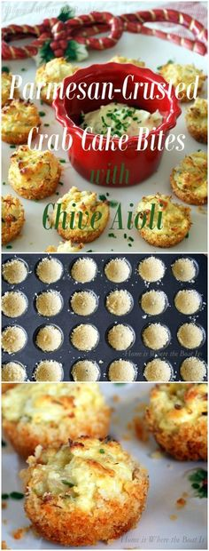 Parmesan-Crusted Crab Cake Bites with Chive Aioli, a great little to serve for the holidays! The crab mixture can be made a day in advance, then the bite-size cakes are baked in a mini muffin tin with a crust of Parmesan cheese and panko bread crumbs! Finger Food Appetizers, Yummy Appetizers, Appetizers For Party, Appetizer Recipes, Crab Appetizer, Bite Size Appetizers, Tapas, Fingers Food, Fingerfood Party