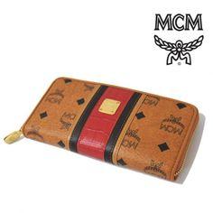 MCM(エムシーエム) ロングウォレット ラウンドジップ レザー ブラウン×レッド【送料無料】 og-mcm-008