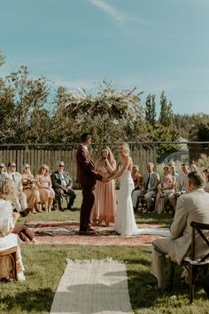 This couple opted for a circular seating arrangement for their intimate ceremony Wedding Ceremony Seating, Rustic Wedding Seating, Wooden Wedding Signs, Diy Wedding, Dream Wedding, Fall Wedding, Unplugged Wedding Sign, Vintage Wedding Invitations, Wedding Stationery