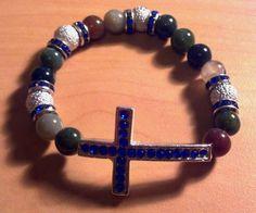 Rain Day Cross Beaded Bracelet by RandRsWristCandy on Etsy, $5.00