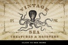 This is a collection of antique / vintage vector graphics of fish, octopus, lobster, shark, sea monsters, eels, crab, shrimp, and more that have been carefully chosen from a variety of sources from the 1600 and 1700's. They are the real deal, and are perfectly imperfect as they haven't been altered from their origina
