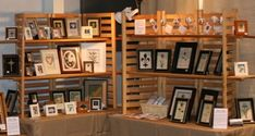 craft-show-display. @Andrea Platt Maybe useable. Thinking the slat boards without the selfs. hanging the signs from them.